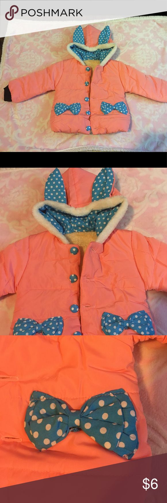 Baby girl bunny jacket🐰 NWOT! Baby girl jacket with polkadot rabbit ears! Ordered on amazon. No brand. Size Lg which is( 1 year old - 2 year old) stated on amazon website 🐰 Jackets & Coats