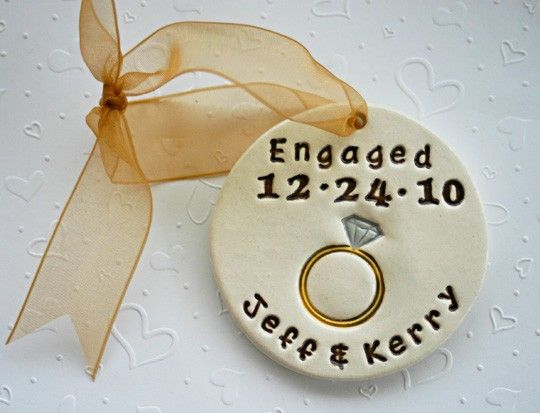 Personalized Engagement Ornament. Or put the wedding date and pass to guests for wedding favors.
