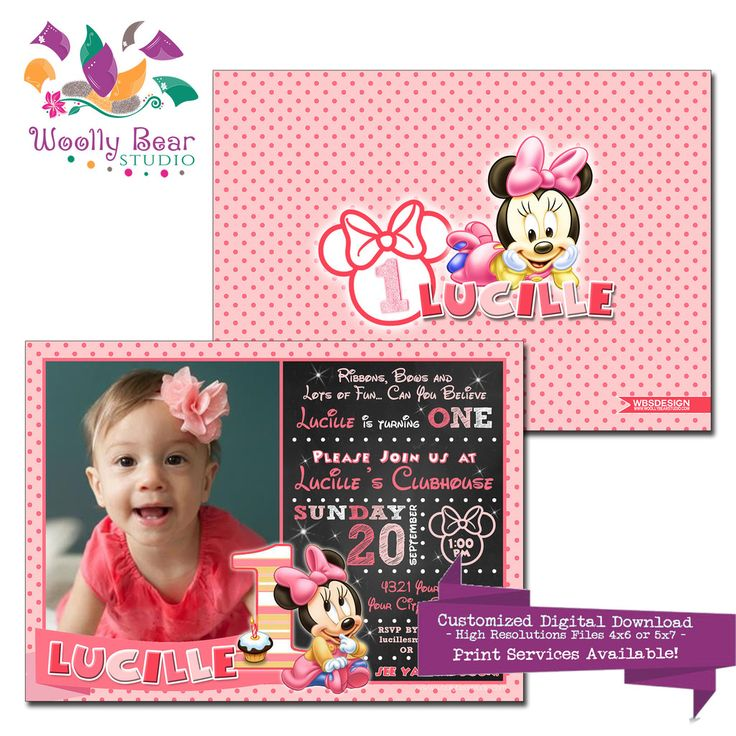The 17 best girls birthday invitations images on pinterest minnie mouse first birthday photo invitation minniemouse babyminnie minnie birthday filmwisefo
