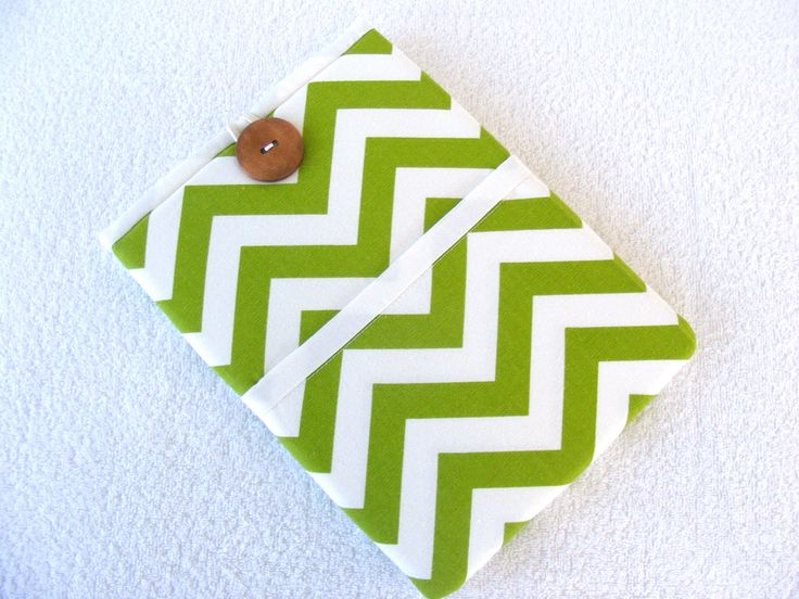 """IPad Cover Sleeve, IPad Pro Cover Sleeve, Samsung Galaxy Tab2 Sleeve Cover,  Lime Green and White Chevron Print, 10"""" x 7 1/2"""" by LindaLeasBoutique on Etsy"""