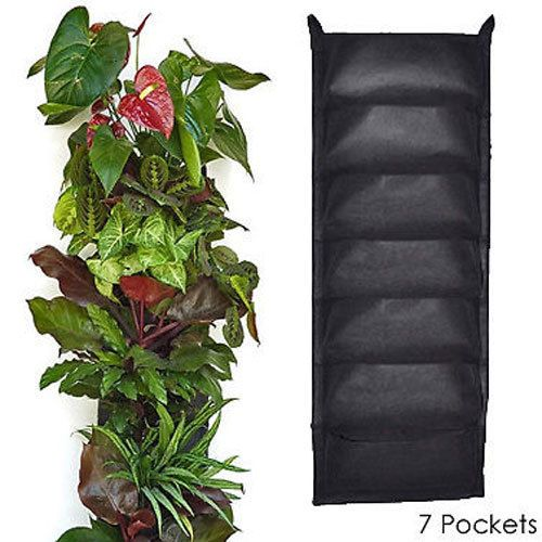 Vertical Hanging Wall Garden 7 Pocket Planting Bags Woven