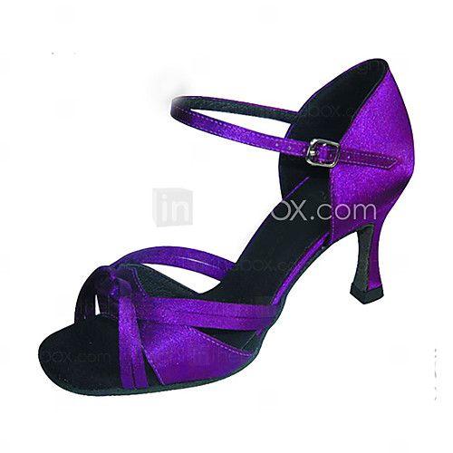 """Scarpe da ballo - Disponibile """"su misura"""" - Donna - Tipo di scarpe / Latinoamericano / Salsa - Customized Heel - Satin - Nero / Viola - USD $27.99"""