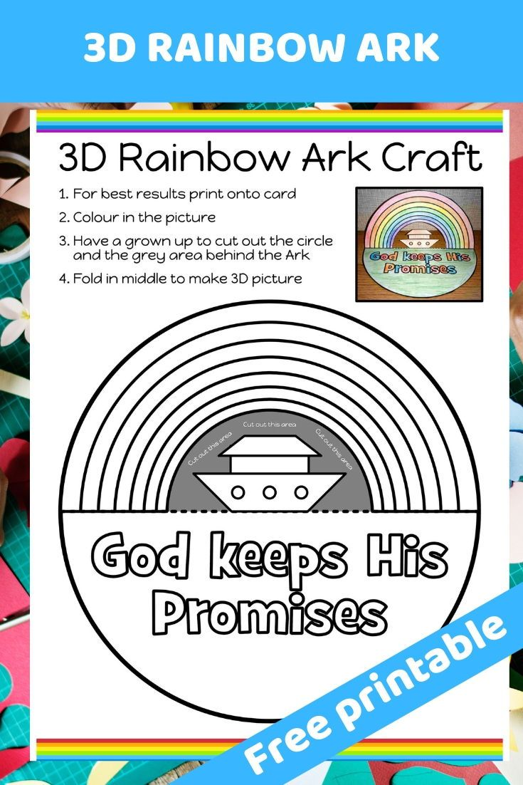 Free Printable 3d Noah S Ark And Rainbow Craft Easy To Print