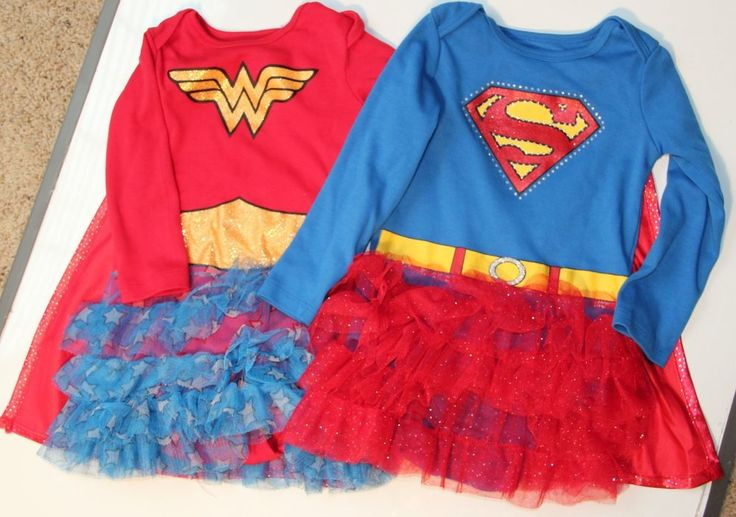 Twin Girls Halloween Costumes 12 to 18 Months - Supergirl and Wondergirl #TMTCComics #DressyHoliday