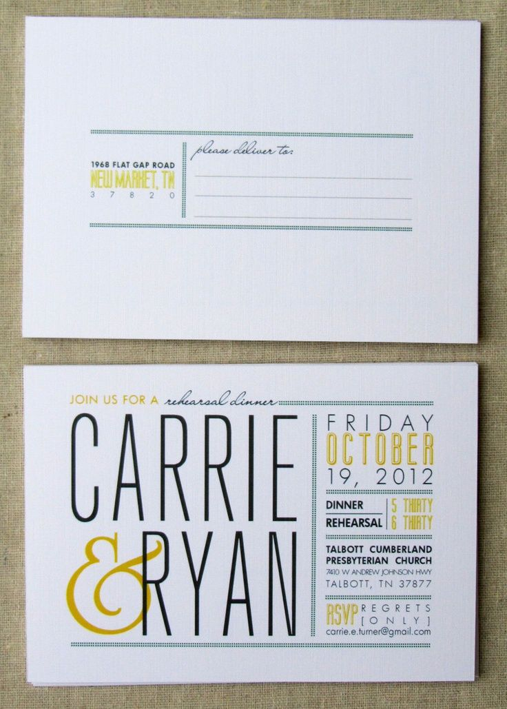 Printable invitation Rehearsal dinner postcard invitation modern