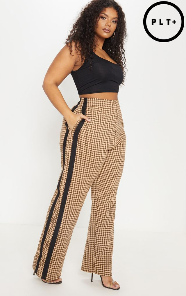 dcfcb27fb8 Plus Taupe Check Wide Leg Sweat Trouser | BIG girl fineee in 2019 ...