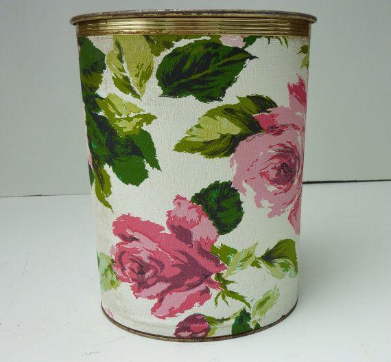 Roses Vintage Pearl Wick Metal Waste Paper Can By