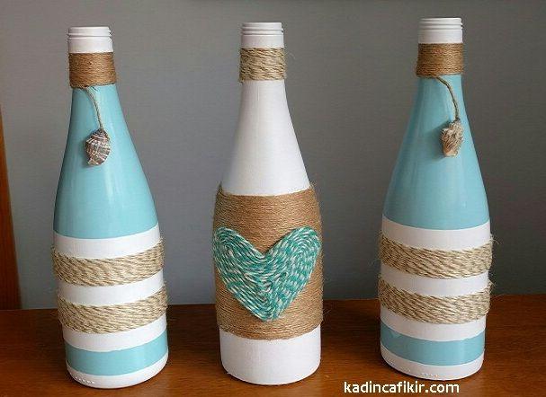 Cam şişe boyama ile beyaz kalpli, mavi beyaz deniz kabuklu üçlü cam şişe süs eşyası modeli | Kadınca Fikir