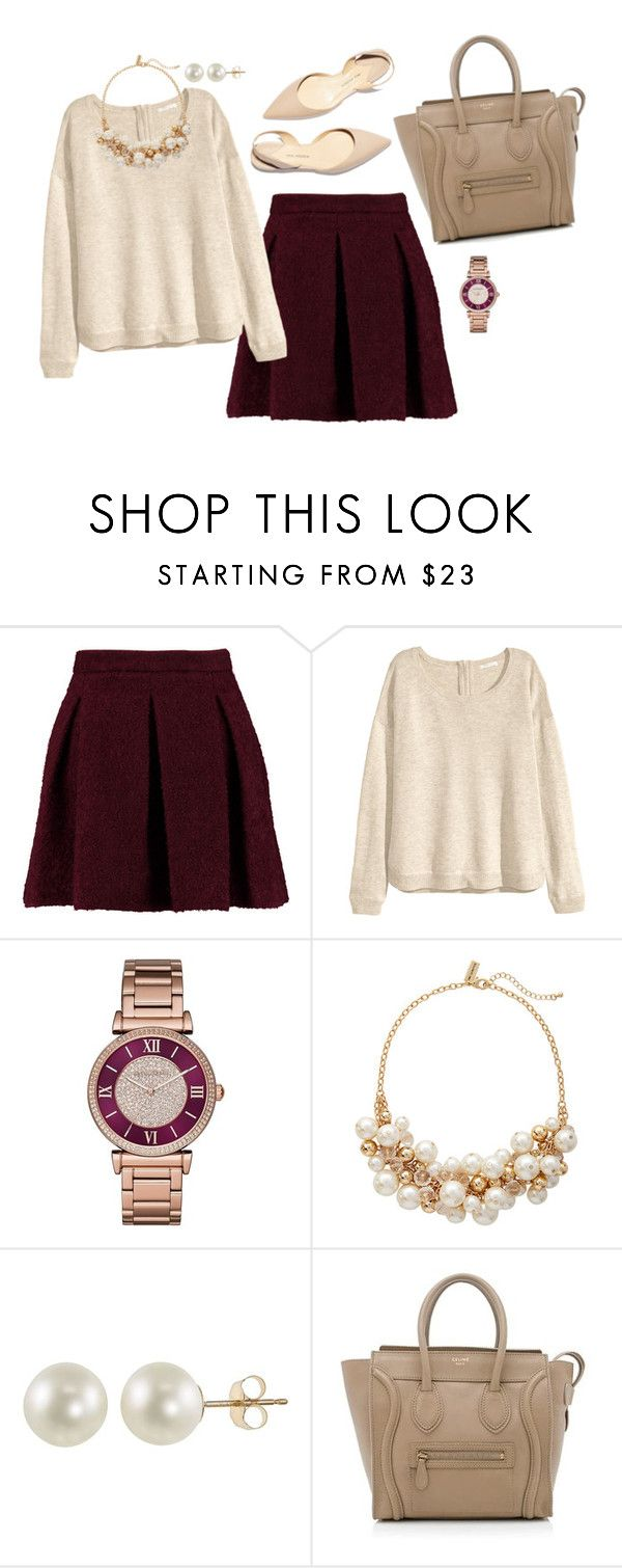 """Diner outfit"" by preppyandreap ❤ liked on Polyvore featuring Karl Lagerfeld, H&M, Paul Andrew, Michael Kors, The Limited, PearLustre by Imperial and CÉLINE"