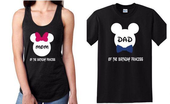 Débardeur Disney anniversaire princesse maman et papa chemises dames, mens Tshirt standard.  Chemises de vacances Disney T-shirts