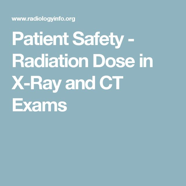 Patient Safety - Radiation Doses for X-Ray & CT Exams