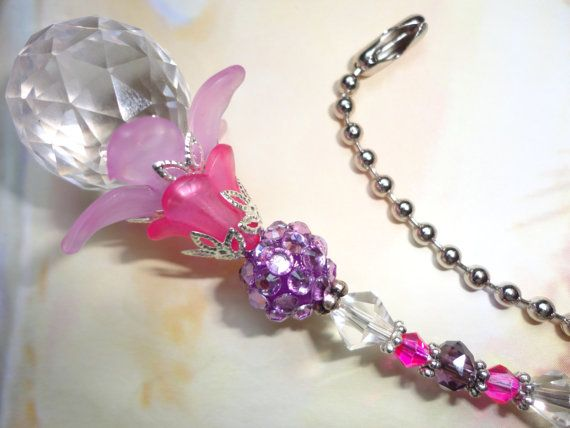 pink and purple ceiling fan pull light pull or by JessicasJewles