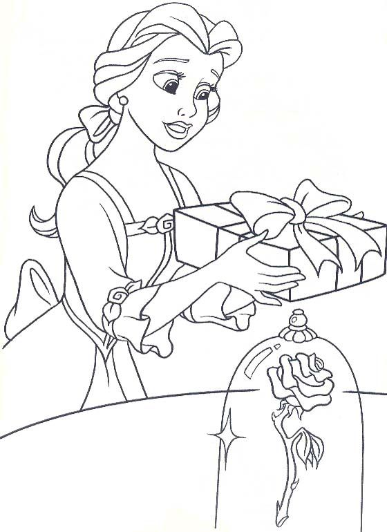 Belle Want To Give Gift Beast Coloring Pages