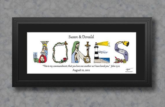 1st wedding anniversary gift personalized by The Christian Alphabet, $59.95 for standard frame as shown.