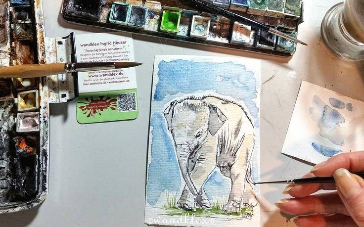 Sich ne dicke Haut zuzulegen ist oft nicht ganz verkehrt und manchmal sogar auch noch niedlich.  (die kleine Elefantenbaby-Illu gibt's demnächst im Shop sobald sie trocken hinter den Ohren ist) .) Material: Schmincke Künstlerfarben Horadam auf @hahnemuehle Britannia 300g rauh @winsorandnewton Series 7 Sable miniature Pinsel No. 000 Fotovorlage lizenziert via @fotolia Malerei und Produktfoto @@wandklex Kunstatelier  #wandklex #malerei #handgemalt #aquarell #hahnemühle #kunst #art #watercolor…