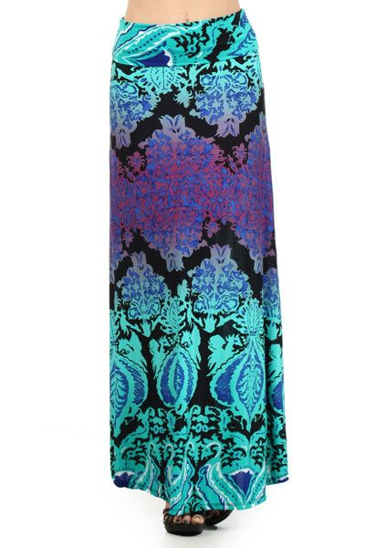My favorite look this season! Turquoise and Purple Print Ombre Fold Over Maxi Skirt - Andreas Boutique