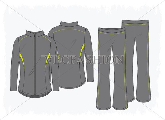 Women Sport Running Jacket and Pants by VecFashion on Creative Market