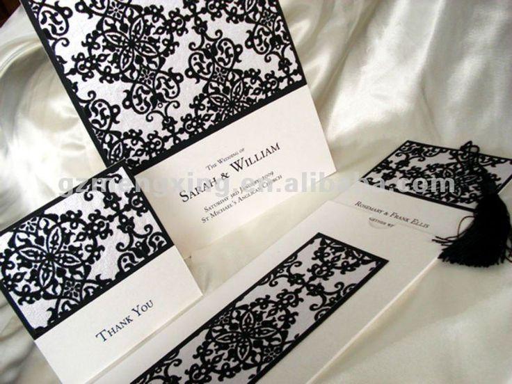 Blanco con negro flocado tarjetas de invitación con borla de niza - - ea609-Suministros Bodas-Identificación del producto:518896639-spanish....