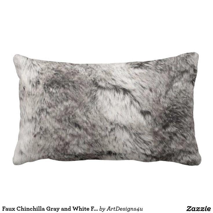 Faux Chinchilla Gray and White Fur Print
