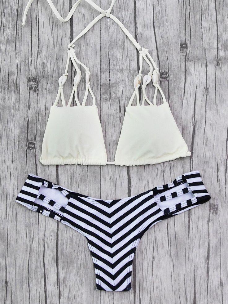 Shop Striped Print Shell Embellished Bikini Set online. SheIn offers Striped Print Shell Embellished Bikini Set & more to fit your fashionable needs.