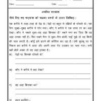 Language Hindi Worksheet - Unseen Passage in Hindi - 04