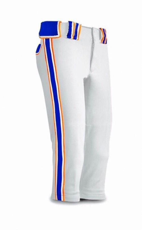 NWOT Womens Boombah Fastpitch Softball Pants White Orange Royal Blue 30  Maxed  1d9f96e61f