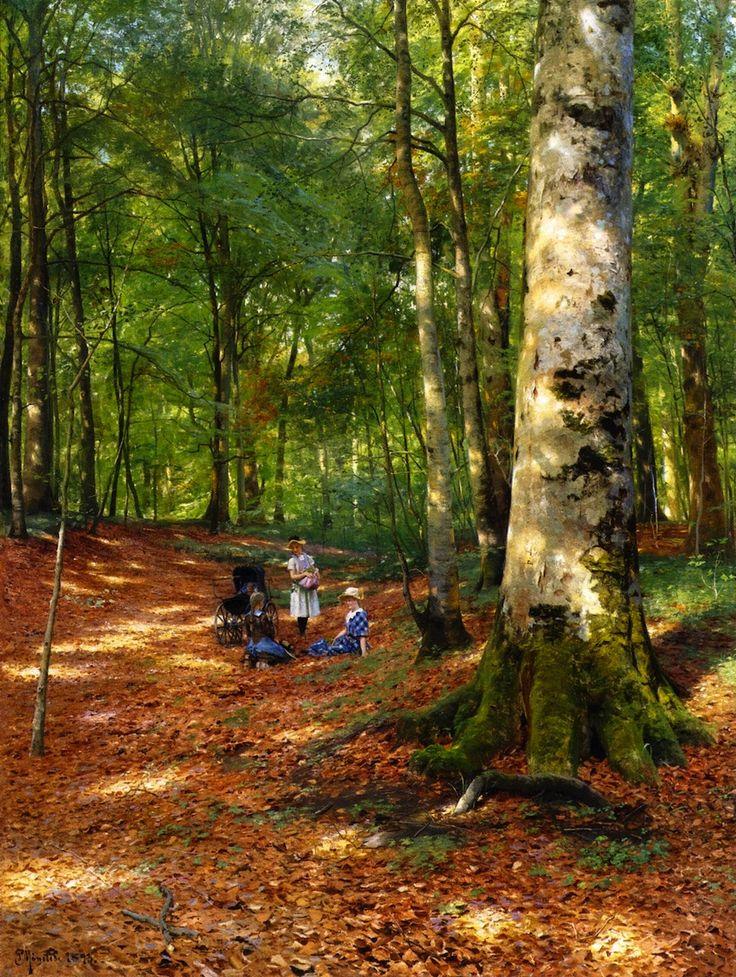 """Peder Mørk Mønsted (1859 - 1941) - """"The Woodland Glade"""""""