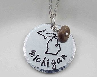 State of Michigan Necklace Michigan Home by LittlePineJewelry