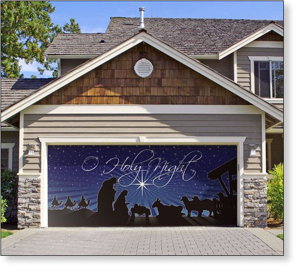 Garage door decor o holy night scene 2car so want to for Christmas garage door mural