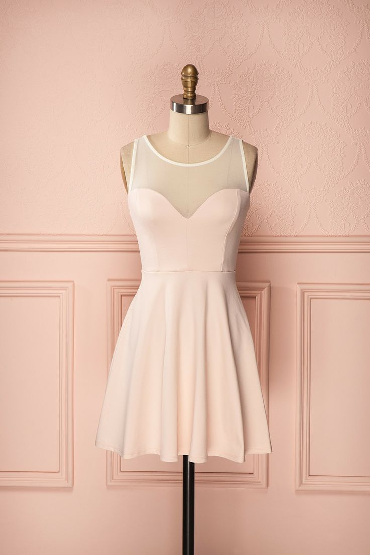 Ganeida Murmure - Light pink dress with bow accent and ivory mesh
