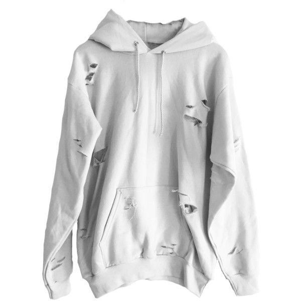 White Distressed Hoodie ($62) ❤ liked on Polyvore featuring tops, hoodies, thick hooded sweatshirt, distressed top, white top, thick hoodie and ripped tops