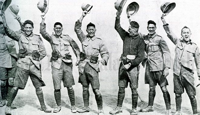 Maori soldiers of the Native Contingent appear in high spirits in this photo, taken in Egypt early 1915. After a few weeks in Egypt the contigent was sent to Malta for garrison duties, while the remaining N.Z. soldiers went to Gallipoli. The heavy casualties at Anzac Cove meant that any idea of the Native Contingent being kept out of the fighting was soon abandoned. The Maori soldiers landed at Gallipoli on 2 July 1915.