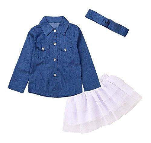 7dc53f7dbc0 Pinleck 3Pcs Kids Baby Girl Denim Shirt Tulle Tutu Skirt Tops Dress  Headband Clothes Set