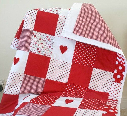 Adorable Baby Girl Patchwork Quilt Red Nursery Bedding by LittleCottonShop