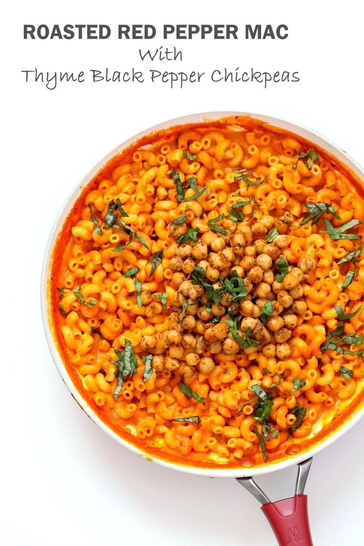 Creamy Roasted Red Pepper Pasta with Crisp Black Pepper Chickpeas. Elbows Mac in roasted red pepper sauce Vegan Soy-free Recipe. Can be gluten-free