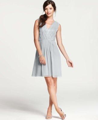 Silk Georgette Pleated Lace Tank Dress $295.00