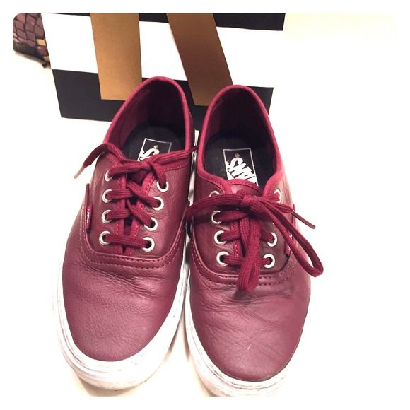 Burgundy Leather Vans Burgundy lace up vans. Used and needs some cleaning/whitening but still in great shape Vans Shoes