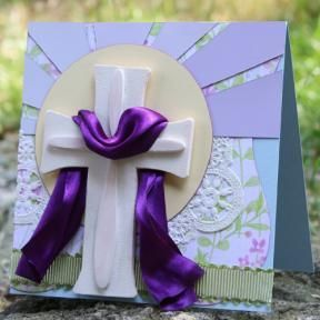 The reason for the season... Create a beautiful, handmade religious Easter card for your friends and family with cardstock, patterned paper and Glue Dots.