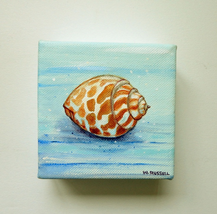 Original Seashell Painting on Mini Stretched Canvas. $25.00, via Etsy.