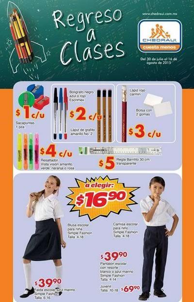Ofertas de regreso a clases: bolígrafo Escrimex, lápiz de grafito amarillo N°2, lápiz, gomas, sacapuntas, resaltador, regla transparente, blusa escolar, camisa escolar, falda escolar azul marino, pantalón escolar, zapato escolar.