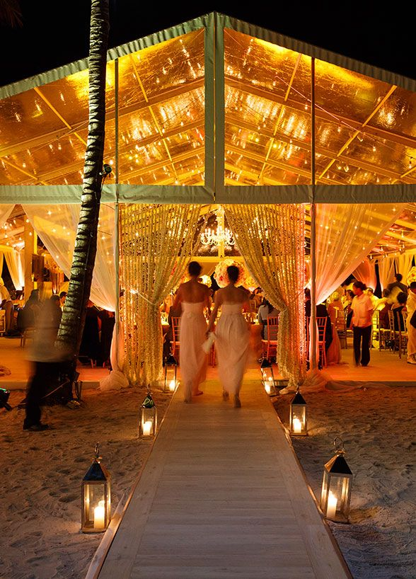 How beautiful is this wedding reception tent! #DestinationWedding #BeachWedding #WeddingLighting