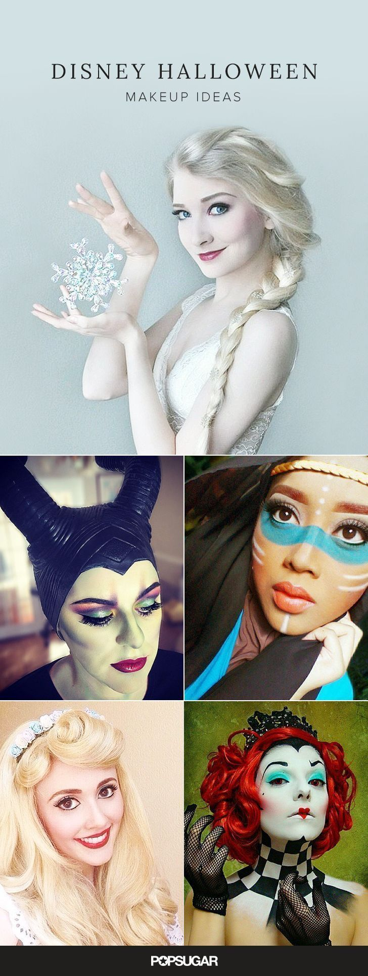 Ideas para maquillarte como algunos de los personajes o princesas de Disney.
