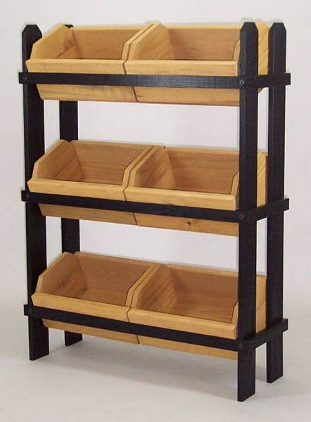 Alternative to bushel holder... Wooden Crate Display with 6 Crates | Crate Fixtures | Wood Display