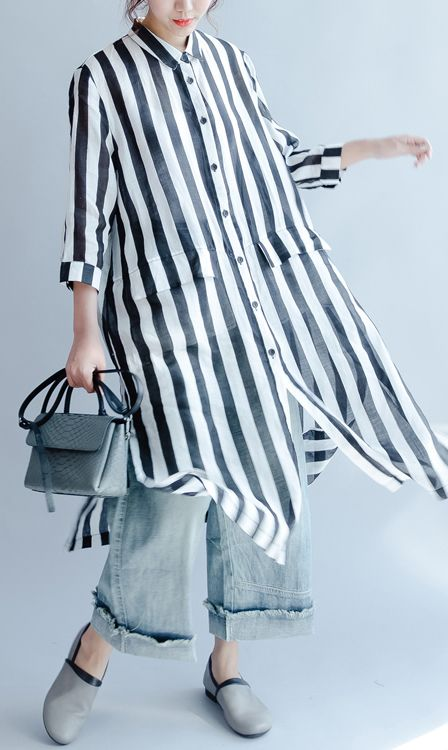 black white striped linen sundress casual loose shirt dresses bracelet sleeved maxi dress