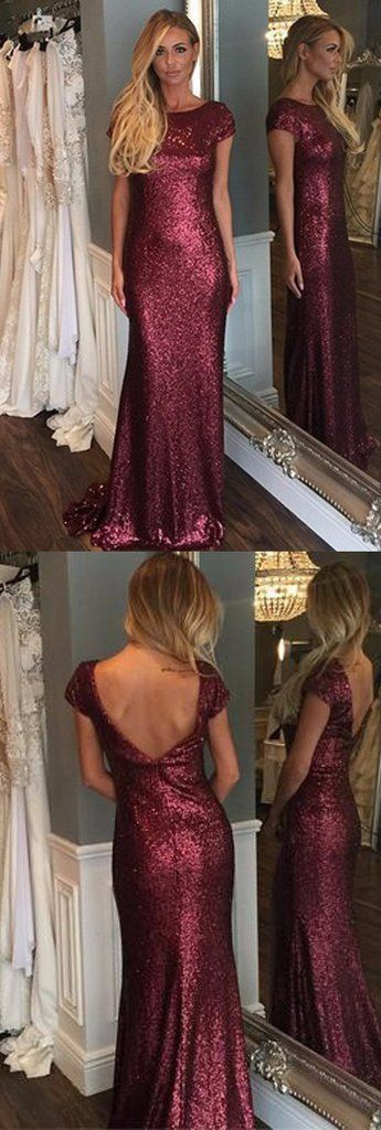 Burgundy bridesmaid dress,Plum bridesmaid dress, sequins bridesmaid dress, cap sleeve bridesmaid dress,BA031