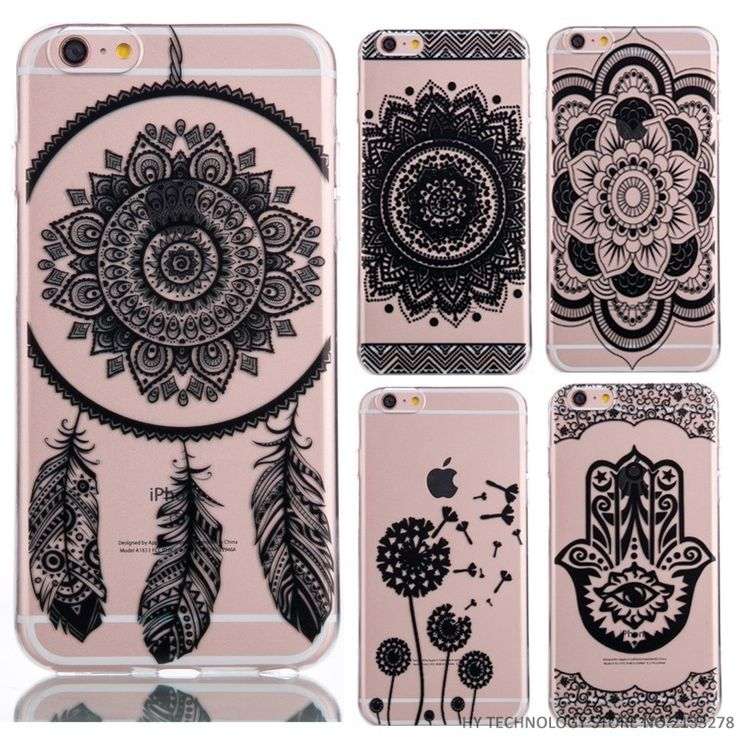 Phone Cases For Flower Pattern iPhone 4 4S 5 5S 5C 6 6S 7Plus 7 Plus Soft Silicon Transparent Vintage Black Cover Datura Paisley