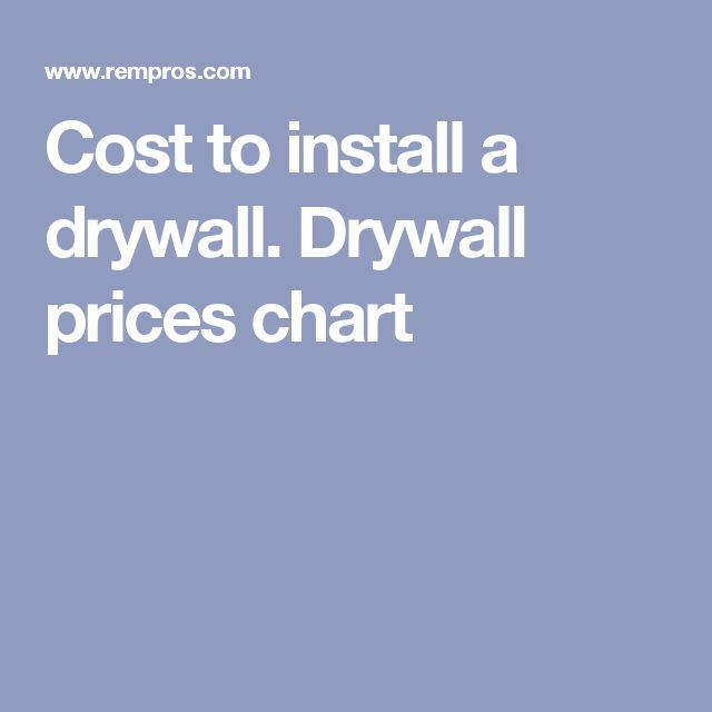 Cost to install a drywall. Drywall prices chart