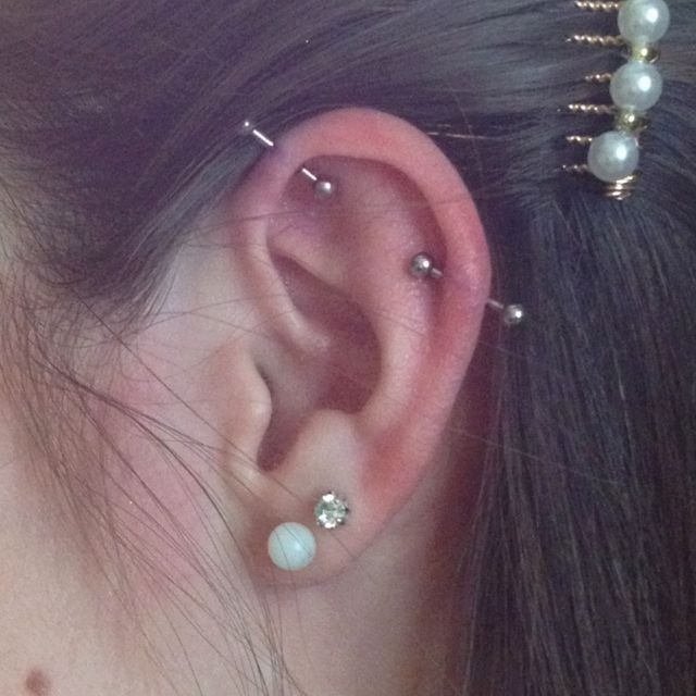 First step to an industrial piercing! How they SHOULD have done mine but they messed mine up bad