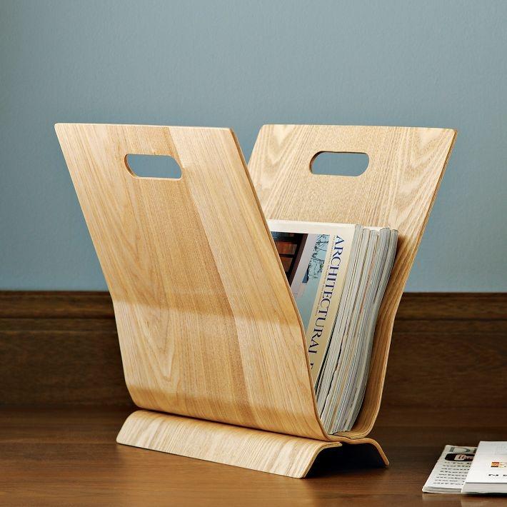 wood magazine holder