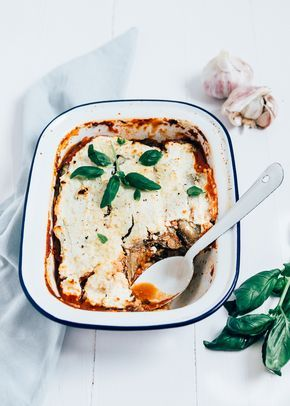 Aubergine ricotta spinazie lasagne
